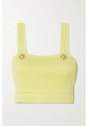 Balmain - Cropped Button-embellished Pointelle-knit Top - Yellow