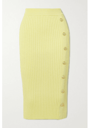 Balmain - Button-embellished Ribbed Stretch-knit Midi Skirt - Yellow
