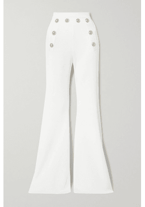 Balmain - Button-embellished Stretch-knit Flared Pants - White