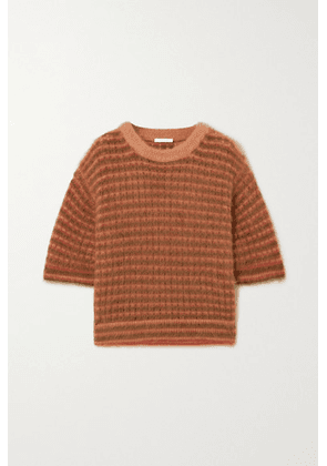 Chloé - Cropped Striped Mohair-blend Top - Pink
