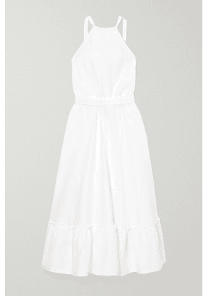 Miguelina - Amanda Belted Open-back Linen Midi Dress - White