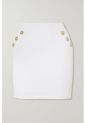 Balmain - Button-embellished Ribbed Stretch-knit Mini Skirt - White