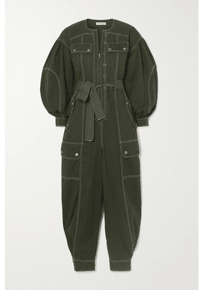 Ulla Johnson - Stearling Belted Cotton-twill Jumpsuit - Dark green
