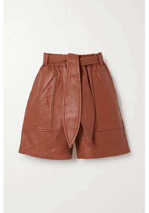 MUNTHE - Meanwhile Belted Leather Shorts - Brick