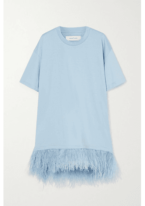 Marques' Almeida - Feather-trimmed Cotton-jersey Mini Dress - Green
