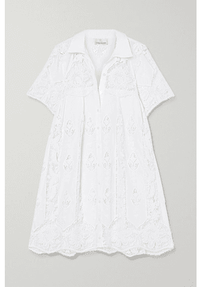Miguelina - Alanna Crocheted Cotton Mini Shirt Dress - White