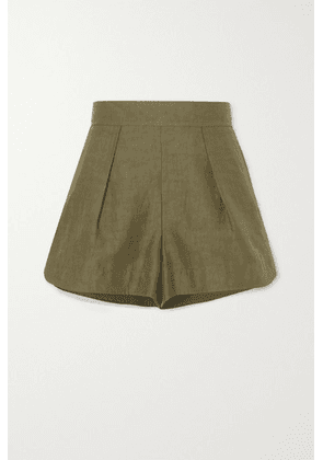 Chloé - Pleated Linen And Cotton-blend Shorts - Green