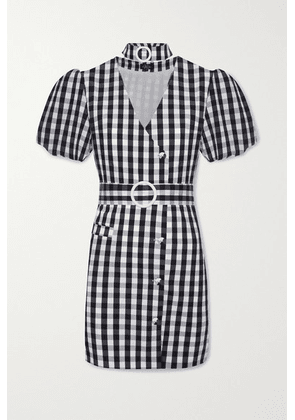 De La Vali - Mila Belted Gingham Cotton-blend Mini Dress - Black