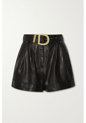 Balmain - Belted Leather Shorts - Black