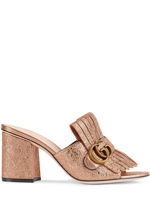 Gucci logo-embellished metallic mules - GOLD
