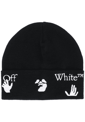 Off-White logo-print knit beanie - Black