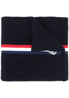 Moncler web detail knitted scarf - Blue
