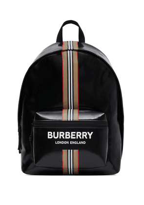Burberry logo and Icon stripe backpack - Black