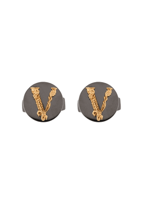 Versace embossed V cufflinks - Grey