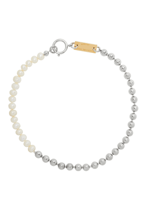 IN GOLD WE TRUST Silver Pearl Necklace