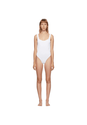 Hunza G White Classic Square Neck One-Piece Swimsuit