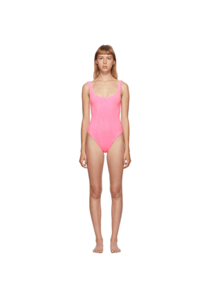 Hunza G Pink Classic Square Neck One-Piece Swimsuit