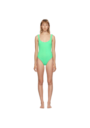Hunza G Green Classic Square Neck One-Piece Swimsuit