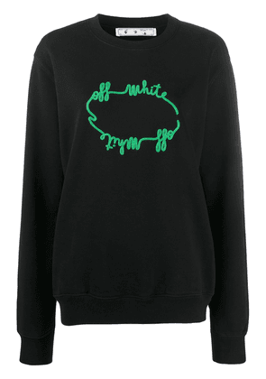 Off-White logo-embroidered relaxed-fit sweatshirt - Black