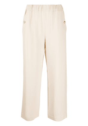 Gucci Double-G embossed-button culottes - NEUTRALS