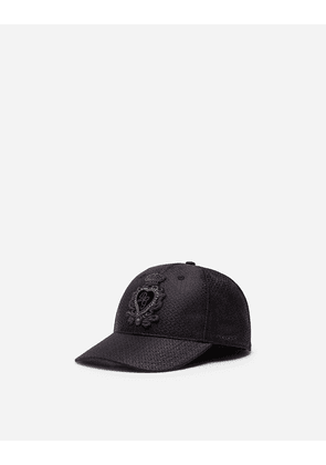Dolce & Gabbana Hats and Gloves - BASEBALL CAP IN JACQUARD SILK WITH PATCH BLACK