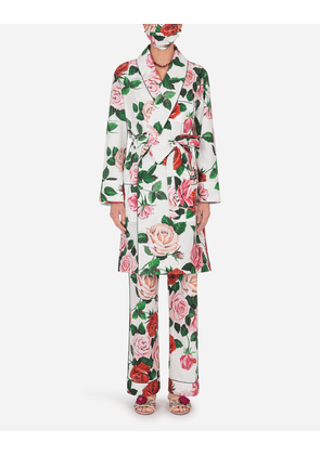 Dolce & Gabbana Loungewear Collection - ROSE-PRINT ROBE WITH MATCHING FACE MASK FLORAL PRINT