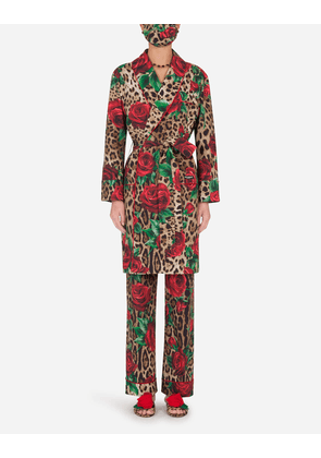 Dolce & Gabbana Loungewear Collection - ROSE-PRINT ROBE WITH MATCHING FACE MASK LEO PRINT
