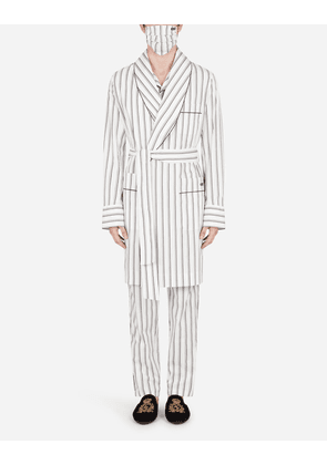 Dolce & Gabbana Loungewear Collection - DOUBLE-STRIPE ROBE WITH MATCHING FACE MASK WHITE