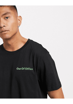 Weekday Relaxed Printed Out of office T-shirt in black