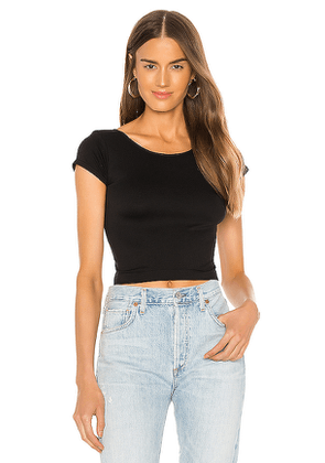 Free People Cap Sleeve SMLS Crop Top in Black. Size XS/S.