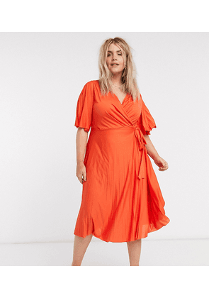 ASOS DESIGN Curve exclusive kimono sleeve pleated wrap maxi dress with tie waist in red-Navy