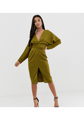 ASOS DESIGN Petite midi dress with batwing sleeve and wrap waist in satin-Green
