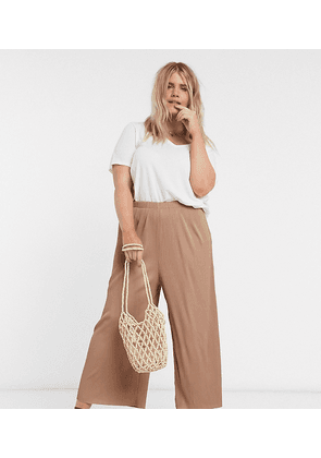 ASOS DESIGN Curve plisse culotte trousers in brown