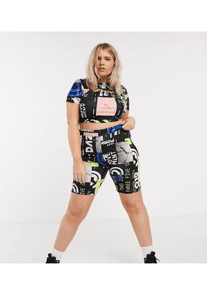 COLLUSION Plus exclusive printed high waist shorts-Multi