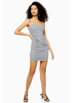 Womens Grey Mesh Mini Ruched Dress - Pale Blue, Pale Blue