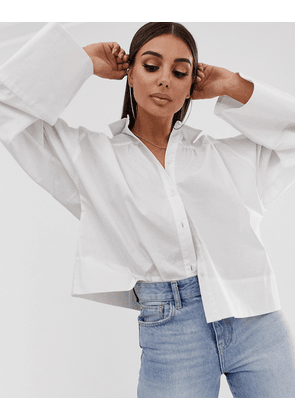 ASOS DESIGN long sleeve shirt with oversized cuff detail-White