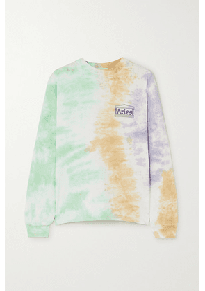 Aries - Printed Tie-dyed Cotton-jersey Top - Green