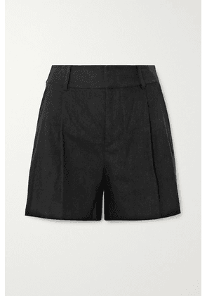 Alice + Olivia - Eric Pleated Linen-blend Shorts - Black