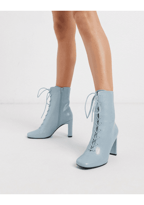 ASOS DESIGN Expression lace up heeled boots in blue