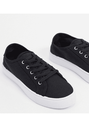 ASOS DESIGN Wide Fit Dizzy lace up trainers in black