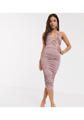ASOS DESIGN Petite going out ruched midi dress with cut out in pink-Beige
