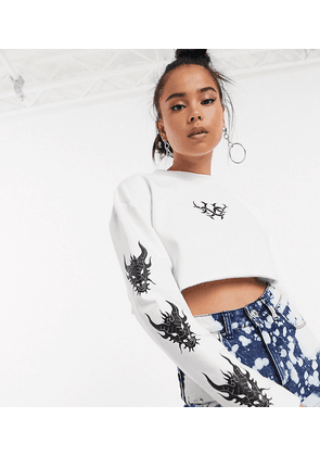 COLLUSION tattoo print long sleeve top-White