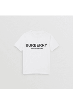 Burberry Childrens Logo Print Cotton T-shirt, White
