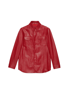 Leather shirt with point collar