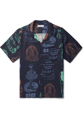 Desmond & Dempsey - Camp-Collar Printed Linen Pyjama Shirt - Men - Black