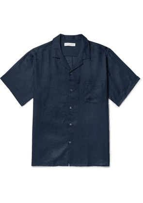 Desmond & Dempsey - Camp-Collar Linen Pyjama Shirt - Men - Blue