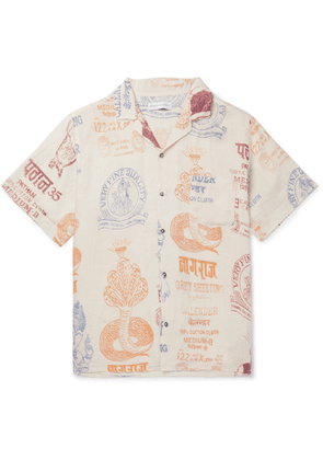 Desmond & Dempsey - Camp-Collar Printed Linen Pyjama Shirt - Men - Neutrals
