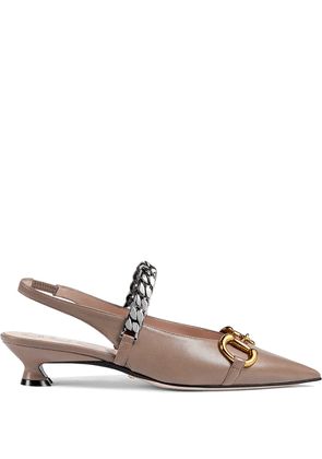 Gucci horsebit pointed pumps - NEUTRALS