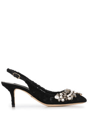 Dolce & Gabbana embellished floral lace pumps - Black