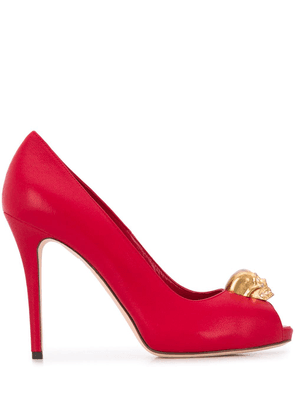 Alexander McQueen skull plaque open toe pumps - Red